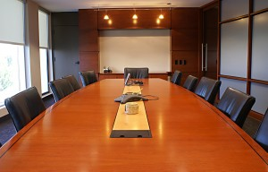Corporate Board Room Table With Chairs.